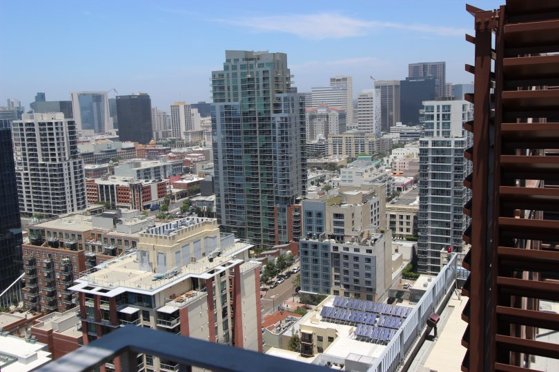 Looking down at buildings in Icon Downtown San Diego California