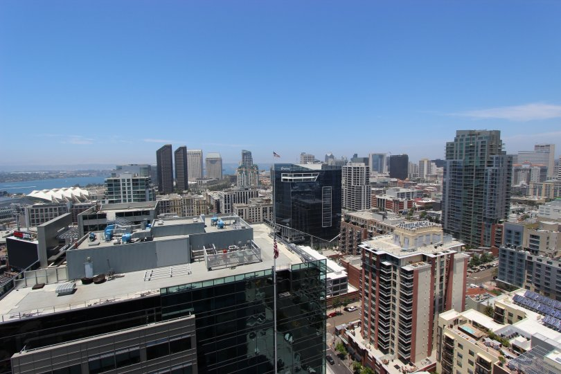 Blue Sky with a high view of buildings in the Icon Community of Downtown San Diego, CA.