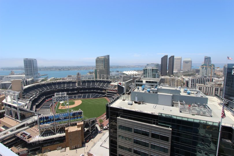 A sunny day in the Icon with a big baseball stadium.