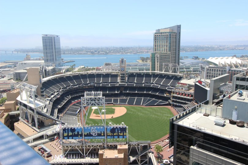 A sunny day at the stadium in Icon, baseball, ocean, boats,