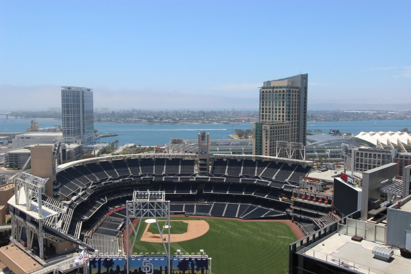 Beautiful view of a baseball stadium in sunny Downtown San Diego, California