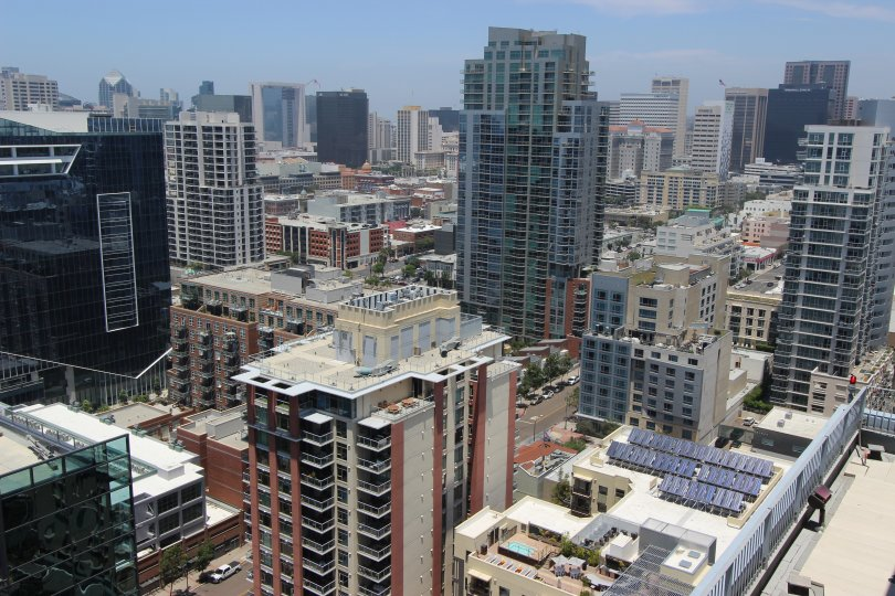An overview of many tall buildings in Icon neighborhood