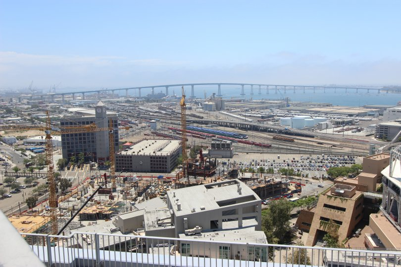 Beautiful construction view with bridge in background.