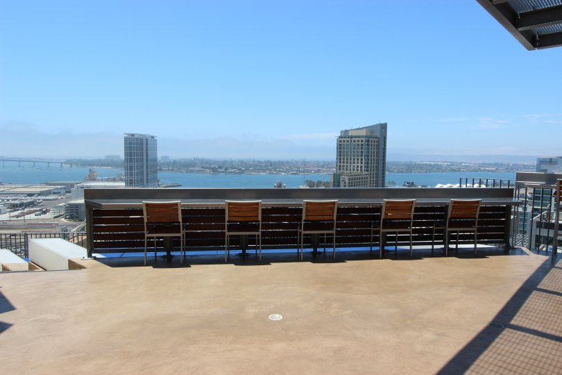 In Icon a community in Downtown San Diego, CA view of the water are seen from the roof.
