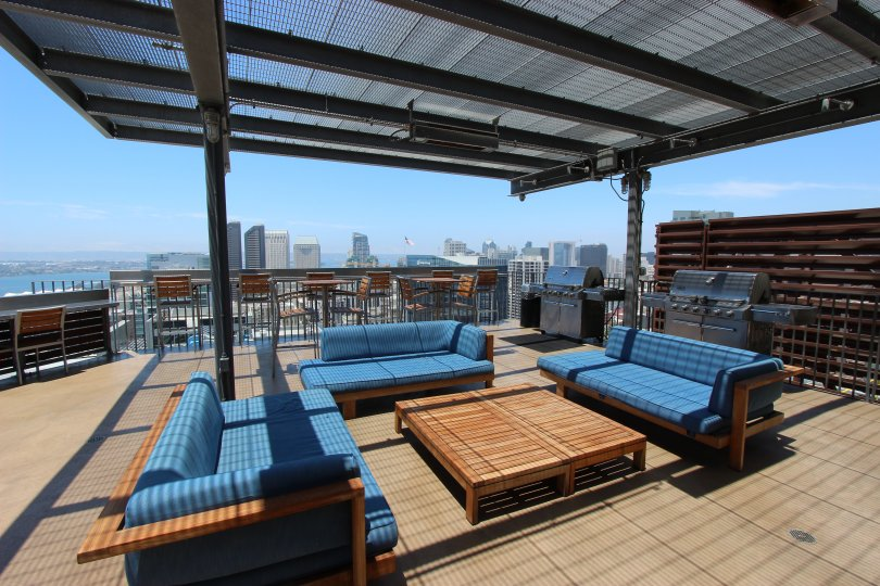 The rooftop lounge area of the Icon community in Icon Downtown San Diego CA