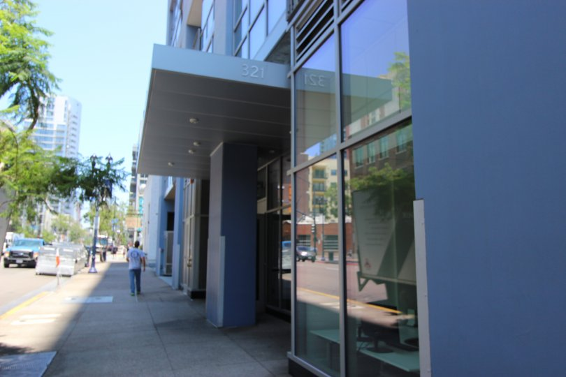 The front entrance to the Icon condominiums in Downtown San Diego, California