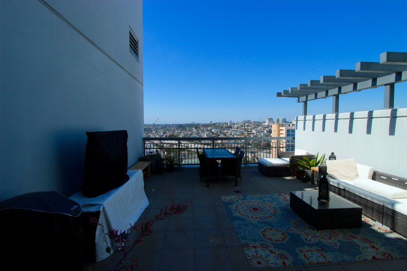 This lovely deck overlooks Downtown San Diego, covered in sunny skies