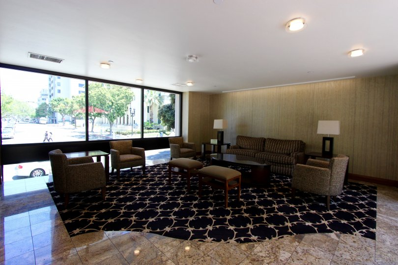 comfy couches in this spacious lobby of the Marina Park community!