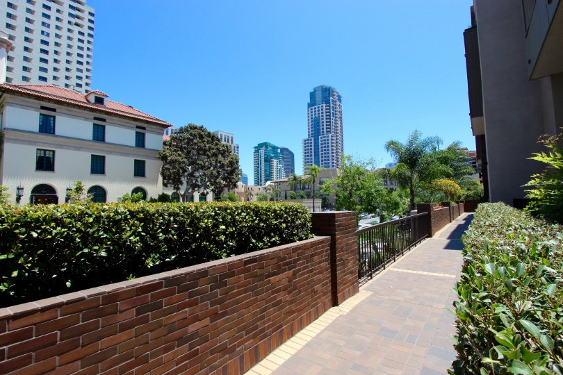 Amazing view from a walkway in Marina Park Downtown San Diego California