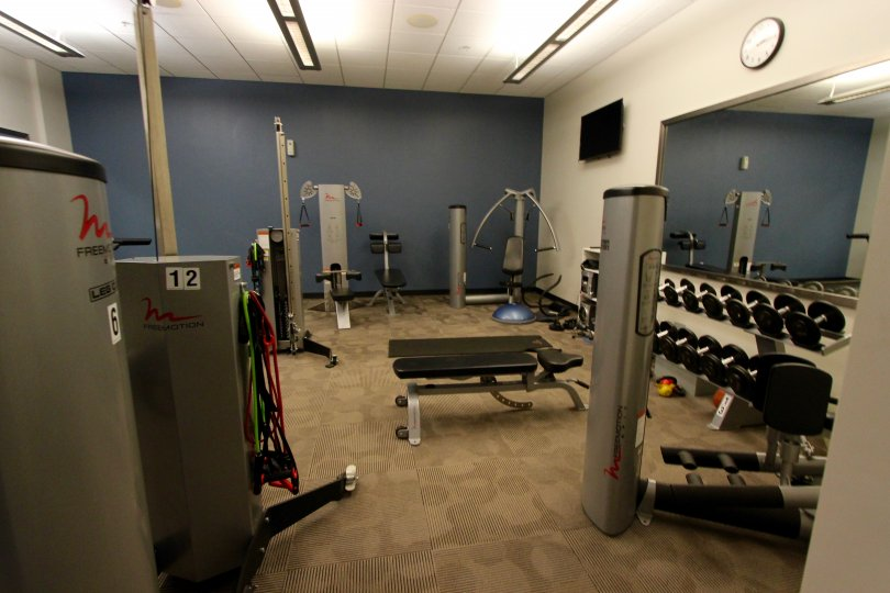 A beautiful gym set up for those fitness lovers in the Nexus community in Downtown San Diego!