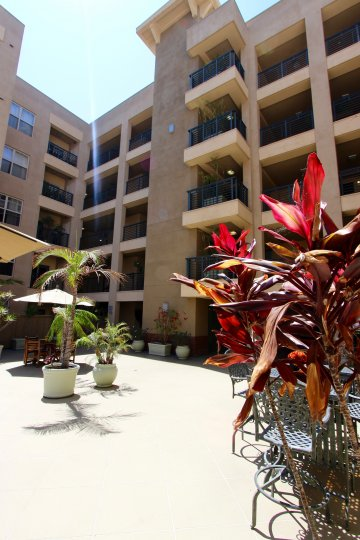 Court yard of Pacific Terrace in Downtown San Diego California