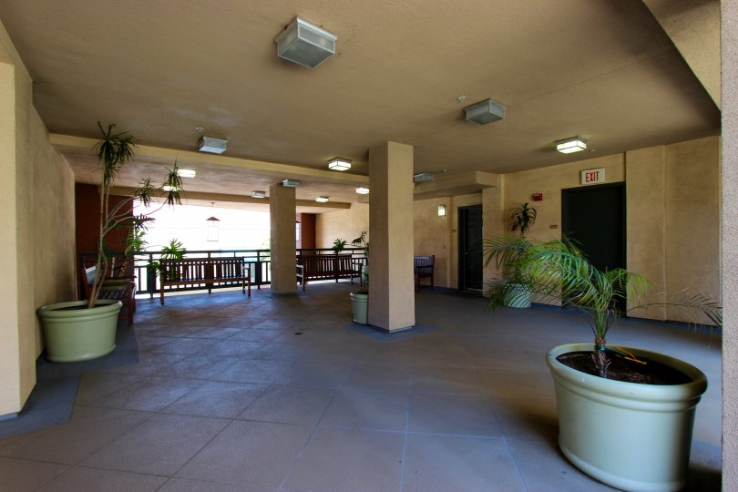 Pacific Terrace, City: Downtown San Diego, a corridor with nice indoor plants and exit is there