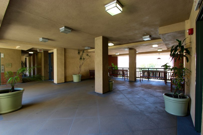 Looking into a open area inside the Pacific Terrace Community in Downtown San Diego
