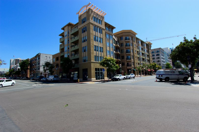 A sunny day across the corner from Pacific Terrace in downtown San Diego, CA