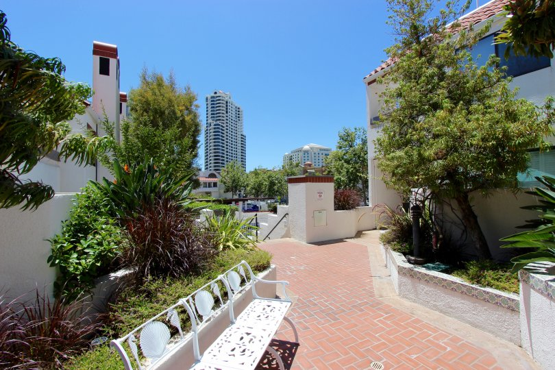 In the Park Row area in Downtown San Diego, CA a walkway has views of the city.