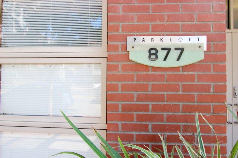 brick wall having name board having number 877 in Parkloft