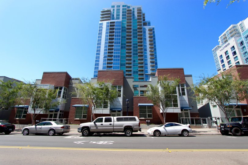 Outside view of entrance and parking in Parkloft Downtown San Diego California