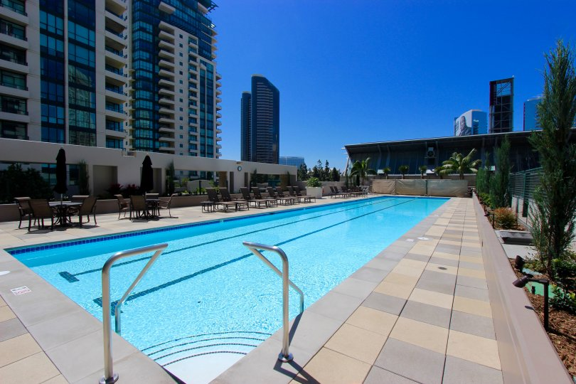 A sunny day by the gorgeous lap pool at the Pinnacle in Downtown San Diego California.