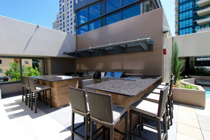Downtown San Diego sunny rooftop deck with hot tub in Pinnacle community