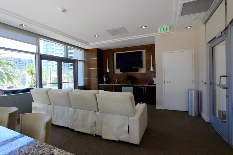 View of a common room in the Sapphire Tower in Downtown San Diego