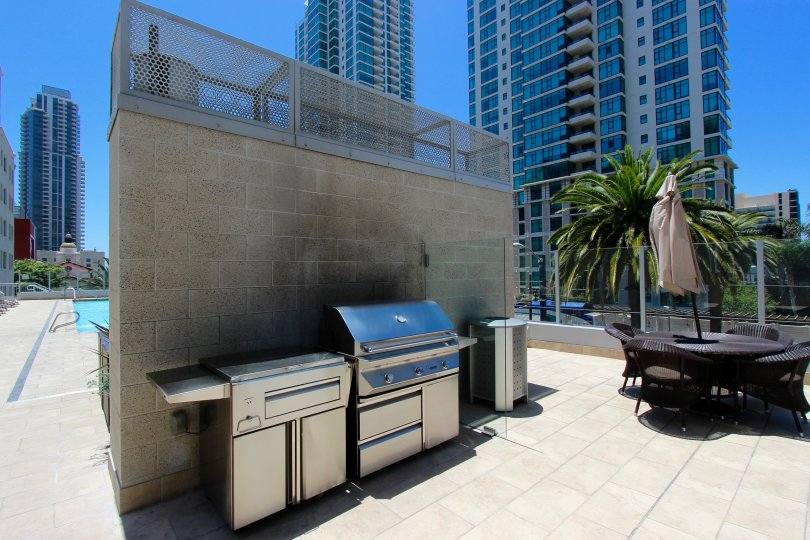 BBQ on a roof top patio at Sapphire Tower in Downtown San Diego California