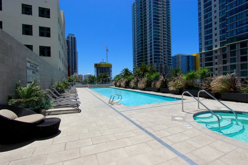 The poolside view of the Sapphire Tower in the Sapphire Tower community in Downtown San Diego CA