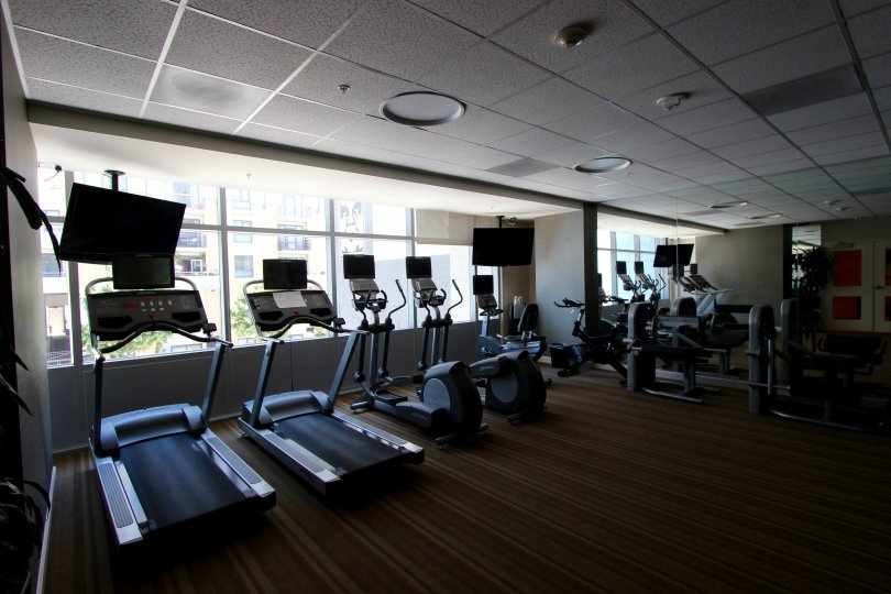 The community gym in the Sapphire Tower complex building in Downtown San Diego CA