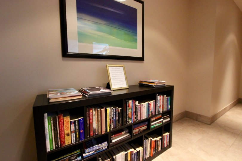 A bookcase in the hall in the Sapphire Tower in the Downtown San Diego area of CA.