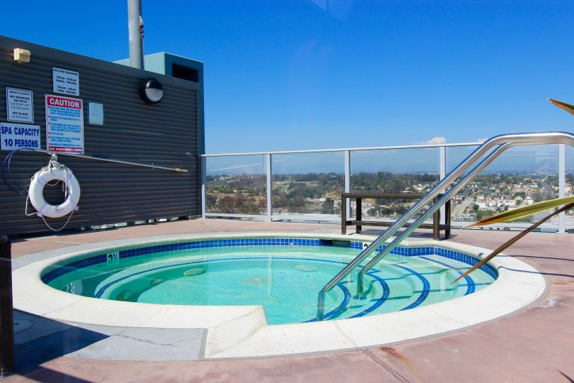 Rooftop view from a round pool in the Smart Corner, California area.