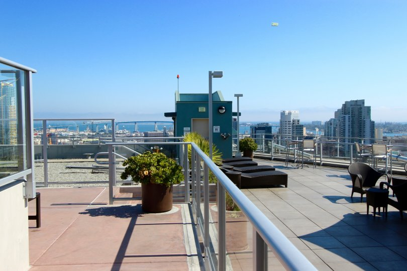 A sky view from a rooftop in the Smart Corner building in Downtown San Diego CA.
