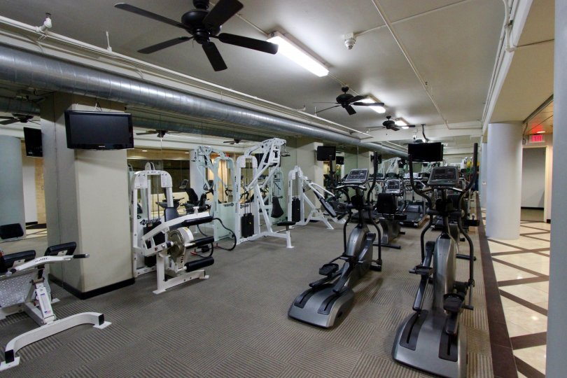 Well-appointed fitness center at Solara Lofts in Downtown San Diego, California.