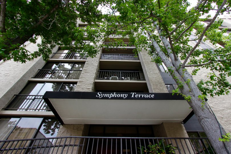 Top angle view of the building balcony surrounding with trees in Symphony Terrace