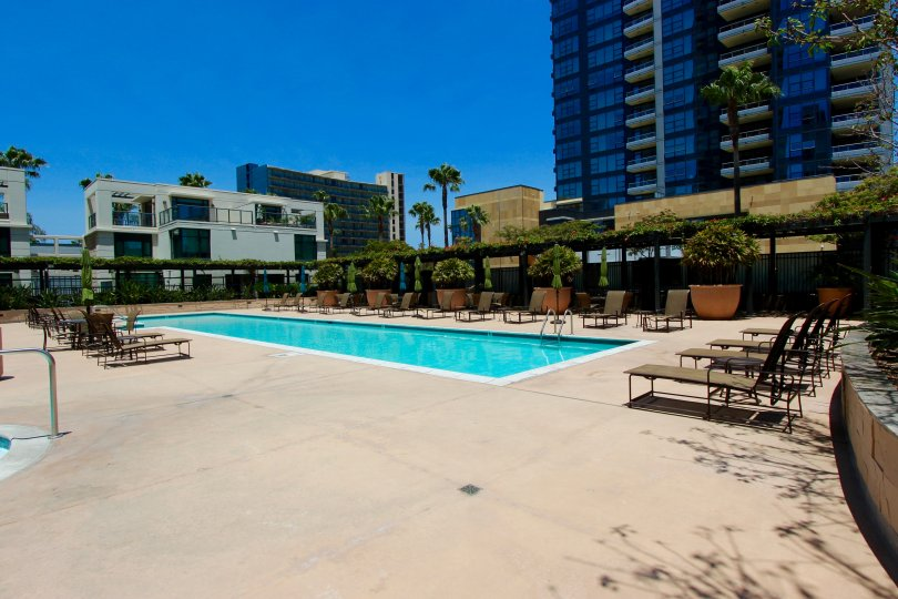 The outdoor pool are in The Grande community in Downtown San Diego CA.