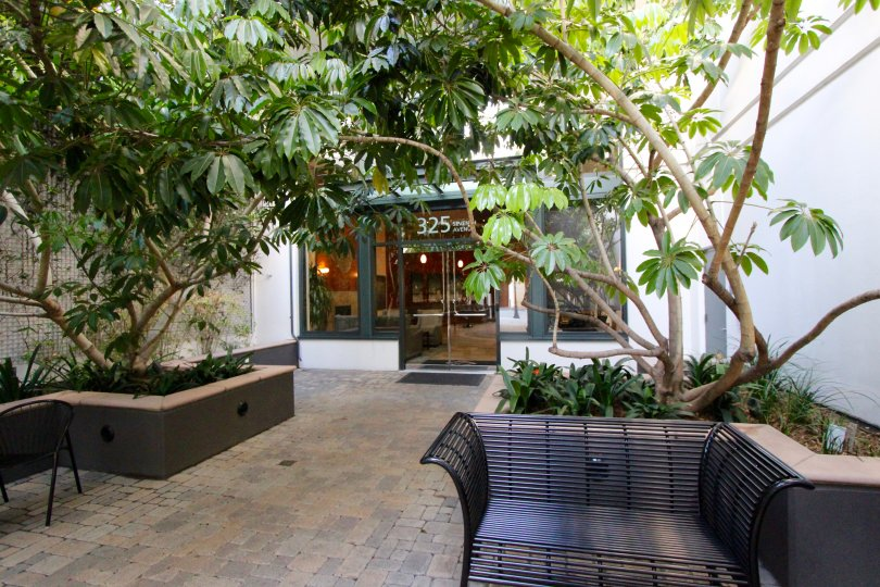 A courtyard with chairs and ornamental plants at The Legend downtown San Diego CA