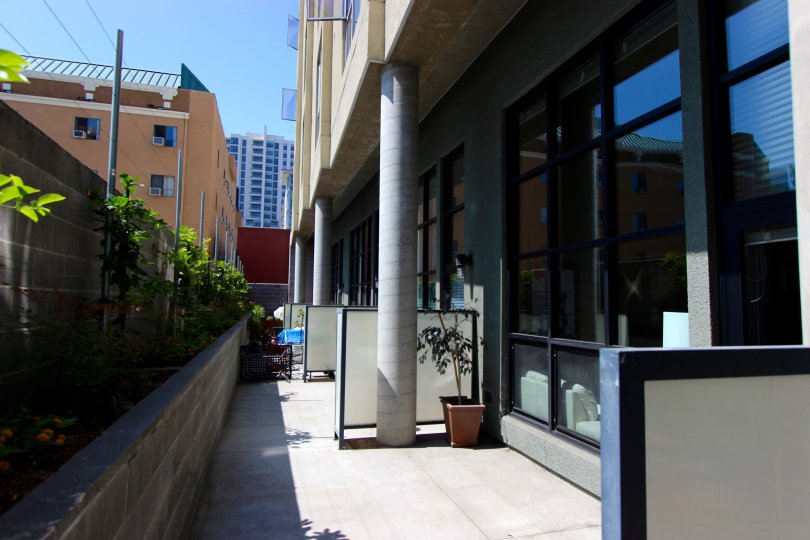 The patios at The Lofts @ 777 Sixth in Downtown San Diego.