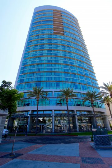 The exterior of the Metropolitan with palm trees and lots of windows in downtown San Diego