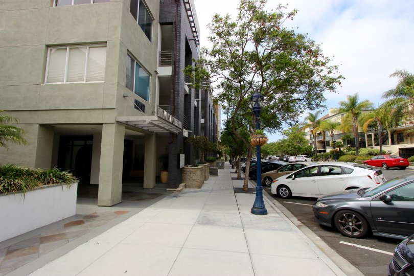The sideway and parking at the entrance to The Mills at Cortez Hill downtown San Diego, Ca.