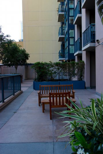 A side view of apartments in the Trellis community