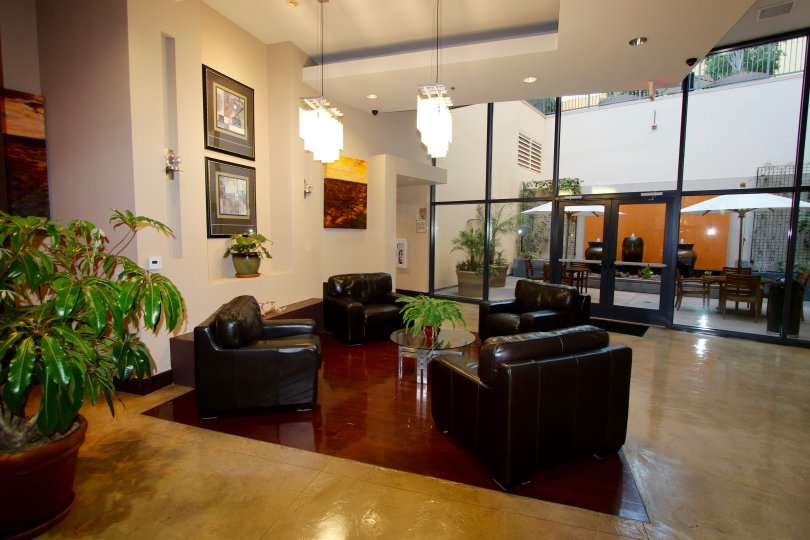 A lounge and eat in lobby located the Trellis building in Downtown San Diego in CA