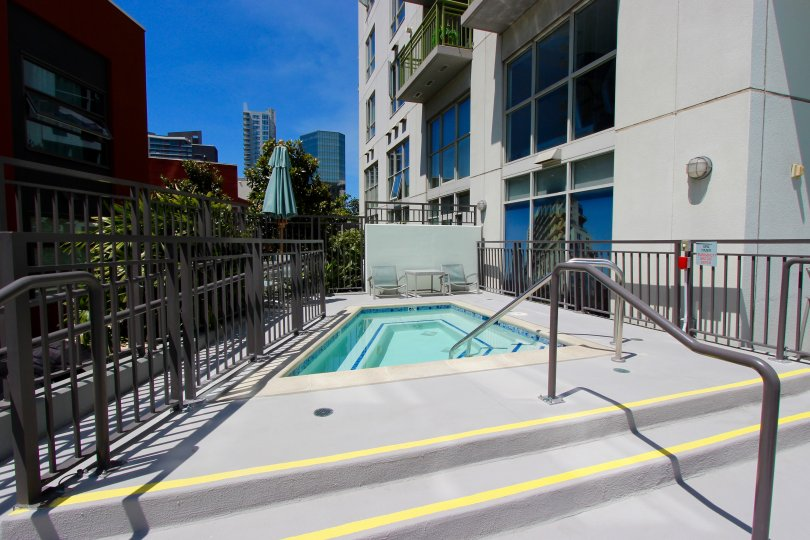 Gated spa area in the community of TREO Downtown San Diego California