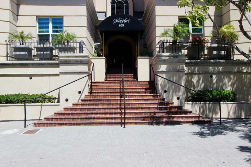 The front entrance to the Watermark building in Downtown San Diego CA