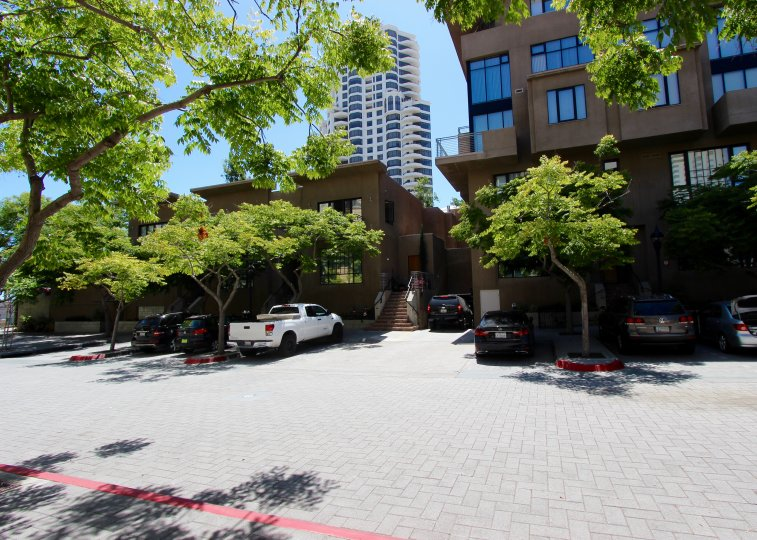 THE APARTMENT IN THE WATERMARK WITH THE CAR PARKING, TREES, GLASS WINDOWS.