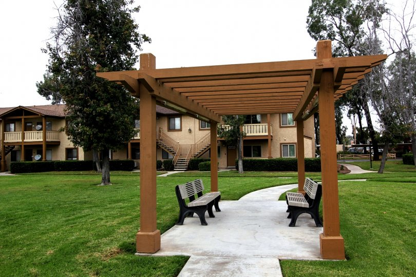 PIcnic area with two benches at Alder Woods in El Cajon California
