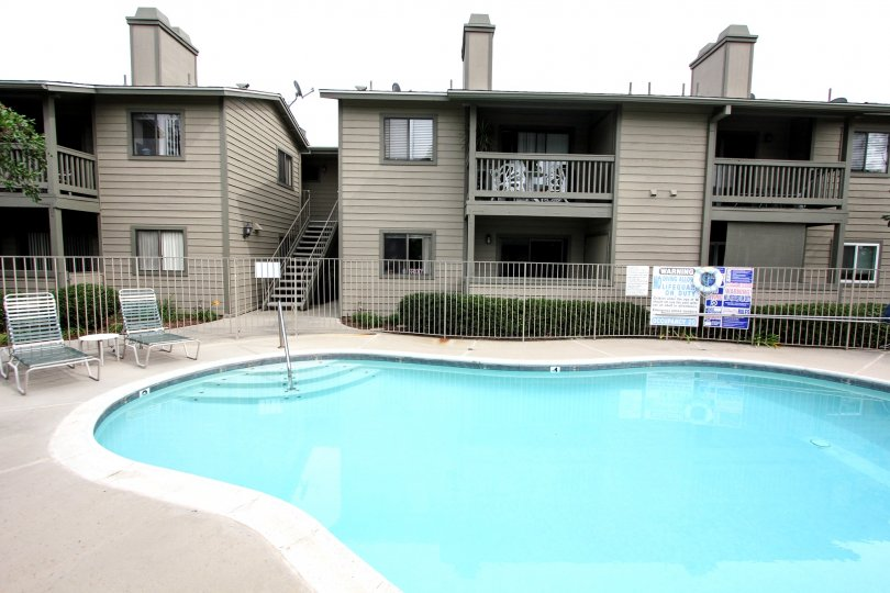 Two story apartment buildings above a swimming pool at Broadway Timbers in El Cajon California