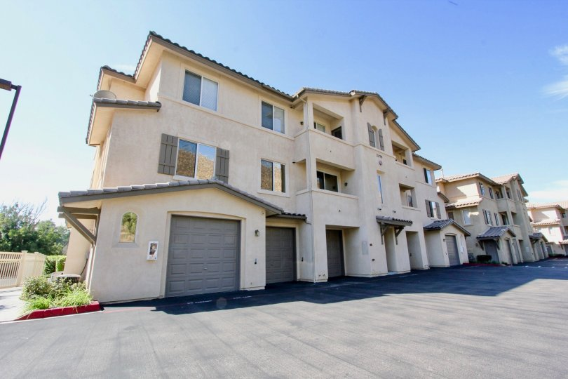 Three story housing units with garages at Fairway Villas in El Cajon California