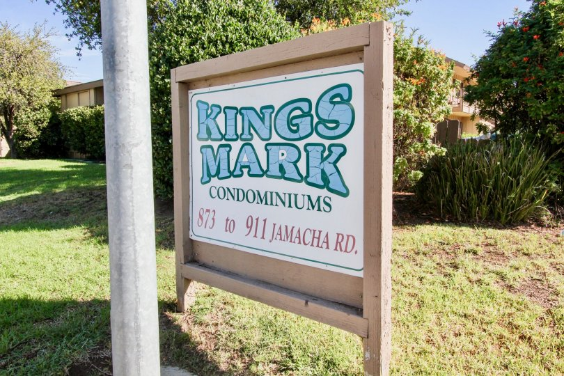 A Sign for the King Mark Condominiums scetion 873 through 911 in El Cajon, California