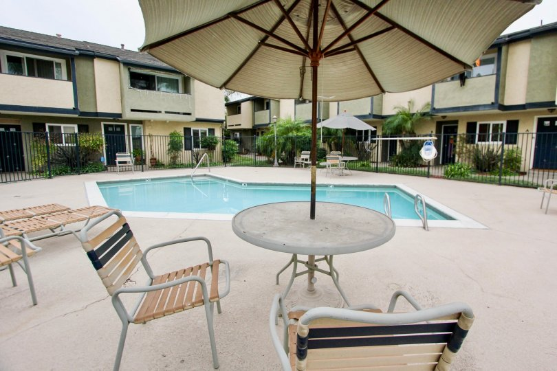 poolside are of magnolia park townhomes sunny day