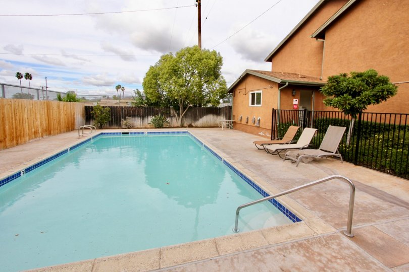 Beautiful swimming pool for the residents of Maple Park Villas, El Cajon, California