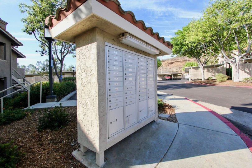 Community mail box wall at Mirasol in El Cajon California