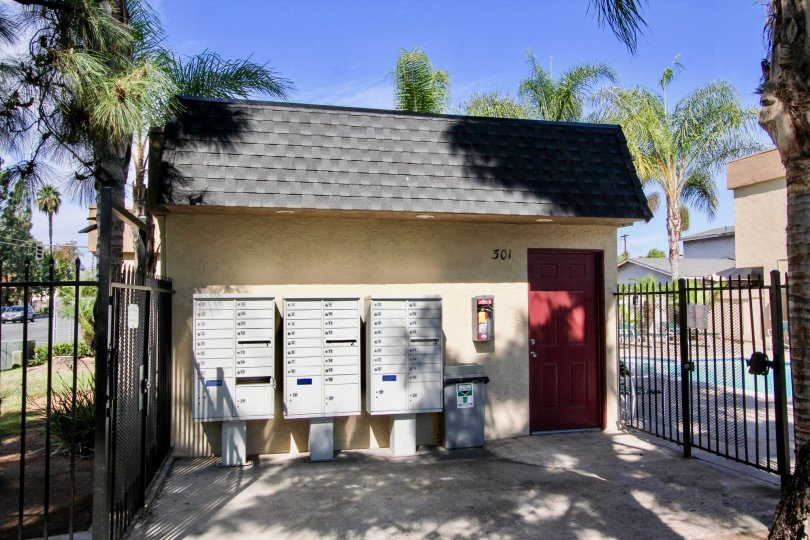 Mailboxes in front of a house in Mollison Estates on a sunny day in the city of El Cajon of California